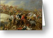 Wounded Warrior Greeting Cards - The Battle between the Amazons and the Greeks Greeting Card by Pauwel Casteels
