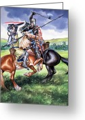 Jousting Greeting Cards - The Battle of Bannockburn Greeting Card by Ron Embleton