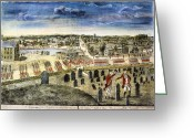Birds Eye View Greeting Cards - The Battle Of Concord, 1775 Greeting Card by Granger