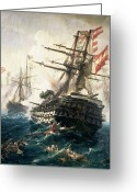 Galleons Greeting Cards - The Battle of Lissa Greeting Card by Constantin Volonakis