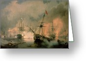 Galleons Greeting Cards - The Battle of Navarino Greeting Card by Ivan Konstantinovich Aivazovsky