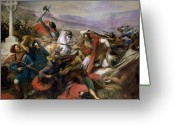 Fighting Painting Greeting Cards - The Battle of Poitiers Greeting Card by Charles Auguste Steuben