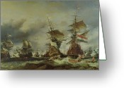 Galleon Greeting Cards - The Battle of Texel Greeting Card by Louis Eugene Gabriel Isabey