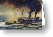 Great Painting Greeting Cards - The Battle of the Gulf of Riga Greeting Card by Mikhail Mikhailovich Semyonov