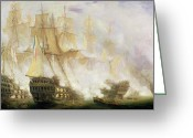 Napoleonic Wars Greeting Cards - The Battle of Trafalgar Greeting Card by John Christian Schetky