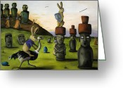 Emu Greeting Cards - The Battle Over Easter Island Greeting Card by Leah Saulnier The Painting Maniac