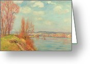 River Banks Greeting Cards - The Bay and the River Greeting Card by Jean Baptiste Armand Guillaumin