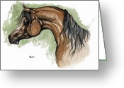 Equine Watercolor Portrait Greeting Cards - The Bay Arabian Horse 12 Greeting Card by Angel  Tarantella