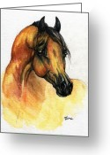 Equine Watercolor Portrait Greeting Cards - The Bay Arabian Horse 14 Greeting Card by Angel  Tarantella