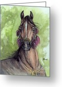 Bay Drawings Greeting Cards - The Bay Arabian Horse 16 Greeting Card by Angel  Tarantella