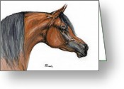 Bay Drawings Greeting Cards - The Bay Arabian Horse 18 Greeting Card by Angel  Tarantella