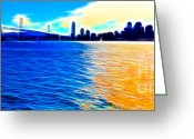 Oakland Bay Bridge Greeting Cards - The Bay Bridge and The San Francisco Skyline . Panorama Greeting Card by Wingsdomain Art and Photography