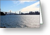 Embarcadero Greeting Cards - The Bay Bridge and The San Francisco Skyline Viewed From Treasure Island . 7D7771 Greeting Card by Wingsdomain Art and Photography