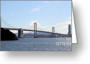 Embarcadero Greeting Cards - The Bay Bridge and The San Francisco Skyline Viewed From Treasure Island . 7D7778 Greeting Card by Wingsdomain Art and Photography