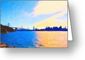 Treasure Island Greeting Cards - The Bay Bridge and The San Francisco Skyline Greeting Card by Wingsdomain Art and Photography