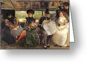 Nineteenth Greeting Cards - The Bayswater Omnibus Greeting Card by George William Joy