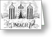 Paper Images Greeting Cards - The Beach Greeting Card by Adam Zebediah Joseph