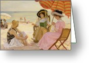 Needlepoint Greeting Cards - The Beach Greeting Card by Alfred Victor Fournier