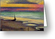 Sunset Scenes. Painting Greeting Cards - The Beach at Heist Greeting Card by Georges Lemmen