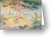 Sunbathing Trees Greeting Cards - The Beach at St Clair Greeting Card by Henri-Edmond Cross