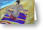 Beach Towel Greeting Cards - The Beach Towel Greeting Card by Donna Blackhall