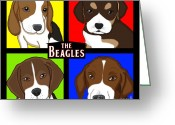 Lori Malibuitalian Greeting Cards - The Beagles Greeting Card by Lori Malibuitalian