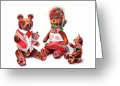 Stuffed Animals Greeting Cards - The Bear Family Greeting Card by Arline Wagner