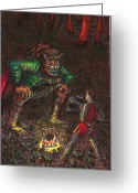 Meeting Drawings Greeting Cards - The Beast And Prince Meet Greeting Card by Al Goldfarb