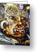 Fantastic Realism Greeting Cards - The Beast Of Babylon II Greeting Card by Otto Rapp