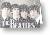 Paul Mccartney Drawings Greeting Cards - The Beatles Albums Mosaic Greeting Card by Paul Van Scott