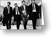 Rock And Roll Glass Greeting Cards - The Beatles Greeting Card by Granger