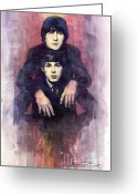 Beatles Painting Greeting Cards - The Beatles John Lennon and Paul McCartney Greeting Card by Yuriy  Shevchuk