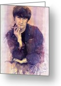 Beatles Greeting Cards - The Beatles John Lennon Greeting Card by Yuriy  Shevchuk