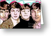 George Harrison Painting Greeting Cards - The Beatles Love Greeting Card by David Lloyd Glover
