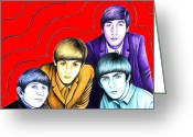 Strawberry Drawings Greeting Cards - The Beatles Greeting Card by Margaret Sanderson