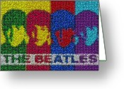 Ringo Starr Greeting Cards - The Beatles MM Candy Mosaic Greeting Card by Paul Van Scott