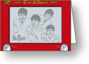 Etch A Sketch Greeting Cards - The Beatles Greeting Card by Ron Magnes