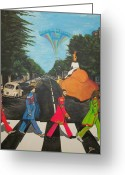 The Beatles Mixed Media Greeting Cards - The Beatles Sgt Peppers Walk On Abby Road Greeting Card by Edward Pebworth