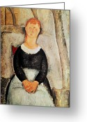 Modigliani Painting Greeting Cards - The Beautiful Grocer Greeting Card by Amedeo Modigliani