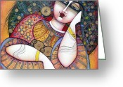 Red Woman Greeting Cards - The Beauty Greeting Card by Albena Vatcheva