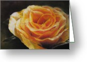 Plants Pastels Greeting Cards - The Beauty of a Rose Greeting Card by Sabina Haas