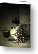 Geisha Greeting Cards - The Beauty of Love Greeting Card by Steven  Digman