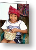 Native Portraits Greeting Cards - The Beautyof Innocence Greeting Card by Karen Wiles