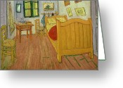 Floor Painting Greeting Cards - The Bedroom Greeting Card by Vincent van Gogh