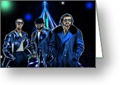 Disco Mixed Media Greeting Cards - The Bee Gees Greeting Card by Tyler Robbins