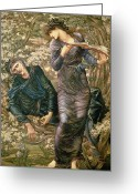 Merlin Greeting Cards - The Beguiling of Merlin Greeting Card by Sir Edward Burne-Jones