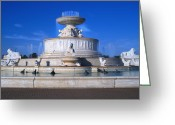 Renaissance Center Greeting Cards - The Belle Isle Scott Fountain Greeting Card by Gordon Dean II