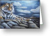 Fine Art - Animals Greeting Cards - The Bengal Tiger Greeting Card by Enzie Shahmiri