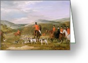 Hunting. Hunting Dog Greeting Cards - The Berkeley Hunt Greeting Card by Francis Calcraft Turner