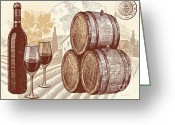 Glasses Greeting Cards - The Best Vintage Wine Greeting Card by Cheryl Young